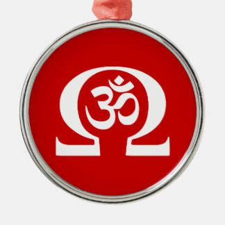 Ohm Om Silver-Colored Round Decoration