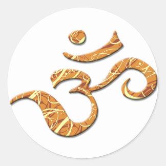 Ohm Symbol in Bronze (Sticker) Round Sticker