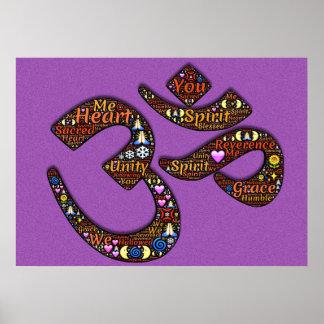 Ohm, Universe, Love, Spirit Heart Purple Poster