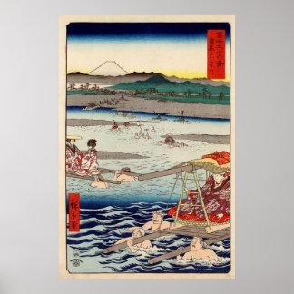 Ōi River between Suruga and Tōtōmi Provinces Poster