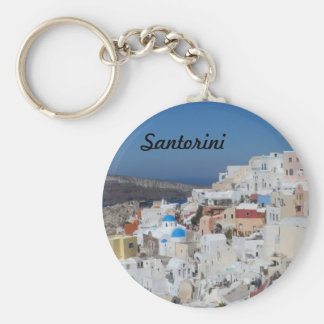 Oia, Santorini- Greece Basic Round Button Key Ring