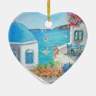 Oia, Santorini Heart Ornament