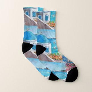 Oia, Santorini, Small All-Over-Print Socks 1