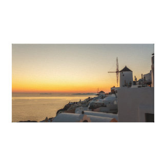 Oia, Santorini Windmill Sunset Canvas Print