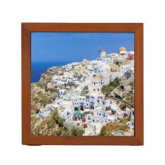 Oia village on Santorini island, north, Greece Desk Organiser