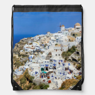 Oia village on Santorini island, north, Greece Drawstring Bag