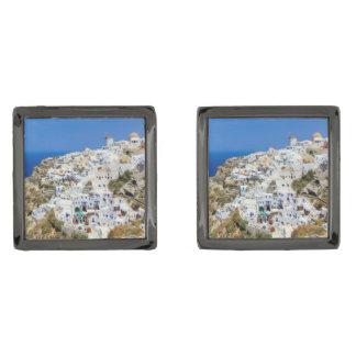 Oia village on Santorini island, north, Greece Gunmetal Finish Cufflinks