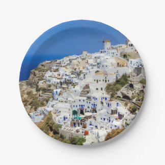 Oia village on Santorini island, north, Greece Paper Plate