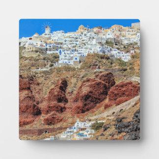 Oia village on Santorini island, north, Greece Plaque