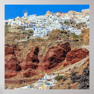 Oia village on Santorini island, north, Greece Poster
