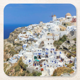 Oia village on Santorini island, north, Greece Square Paper Coaster