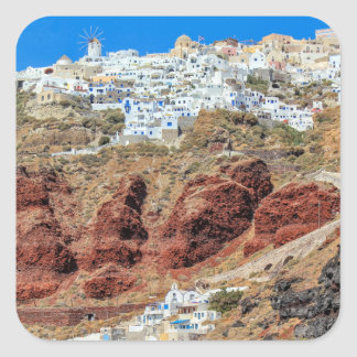 Oia village on Santorini island, north, Greece Square Sticker