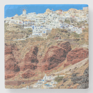 Oia village on Santorini island, north, Greece Stone Coaster