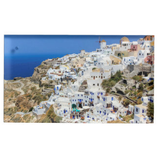 Oia village on Santorini island, north, Greece Table Card Holder