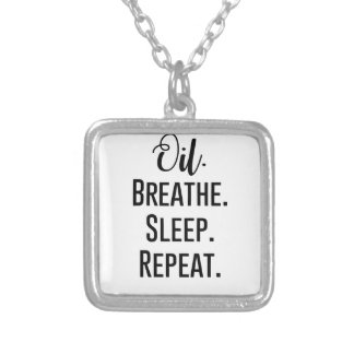 oil breathe sleep repeat - Essential Oil Product Silver Plated Necklace