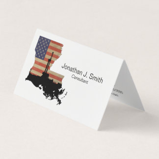 Oil Drilling Rig, Louisiana, Stars, Stripes Business Card