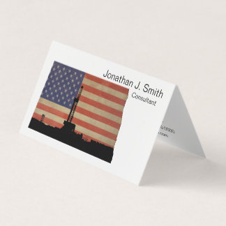 Oil Drilling Rig, North Dakota, Stars, Stripes Business Card