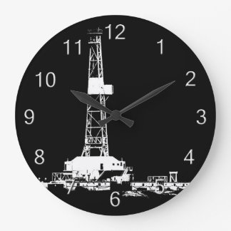 Oil Drilling Rig (white numbers) Large Clock