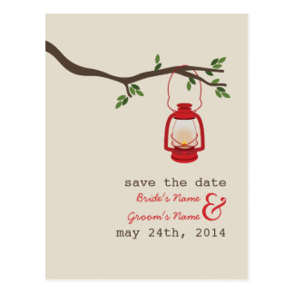 Oil Lamp Camping / Outdoor Wedding Save The Date Postcard