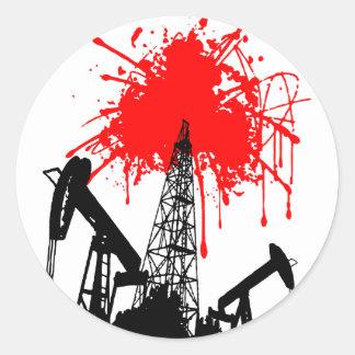 Oil of blood round sticker