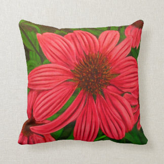 Oil Painted Flower Cotton Throw Pillow
