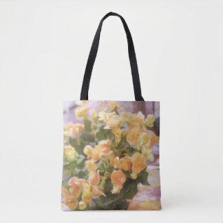 Oil Painting; Close Up of Orange Begonia Tote Bag