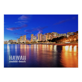 Oil Painting Hawaii Waikiki Beach Night Scene Poster