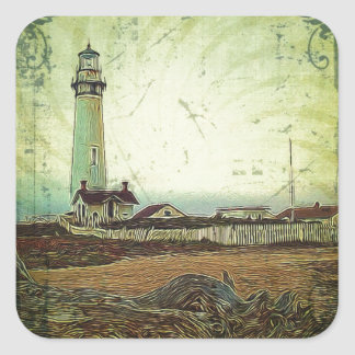 oil painting seashore nautical beach Lighthouse Square Sticker