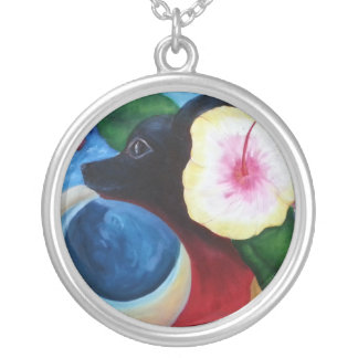 """Oil painting """"US"""" of Sonja de Britain Ringer cup Silver Plated Necklace"""