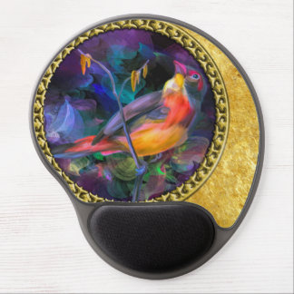 Oil painting yellow orange and purple sparrow gel mouse pad