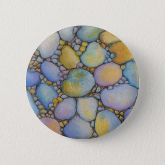 Oil Pastel River Rock and Pebbles 6 Cm Round Badge