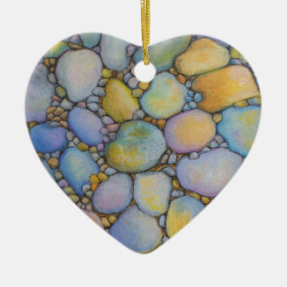 Oil Pastel River Rock and Pebbles Ceramic Ornament