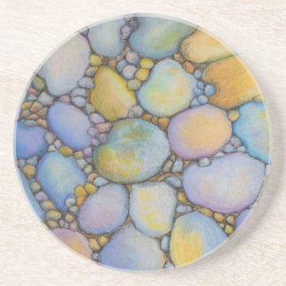 Oil Pastel River Rock and Pebbles Coaster