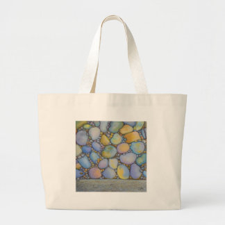 Oil Pastel River Rock and Pebbles Large Tote Bag