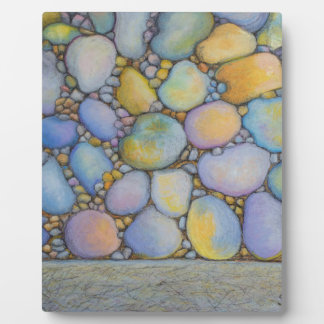 Oil Pastel River Rock and Pebbles Plaque