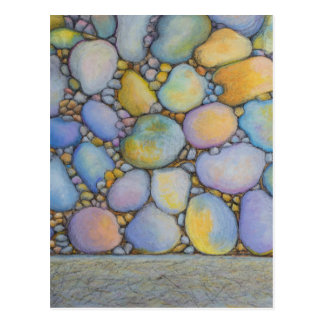 Oil Pastel River Rock and Pebbles Postcard
