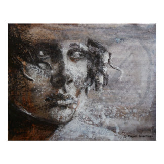 Oil pastel sepia painting in warm colors poster