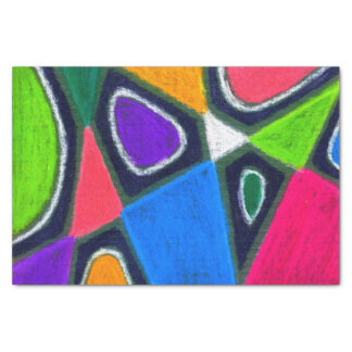 Oil Pastel Tissue Paper | Geometric Abstract