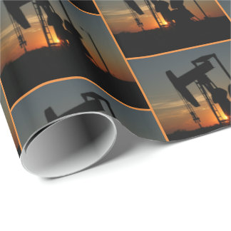 Oil Pump Jack At Sunset Gift Wrap Small Print