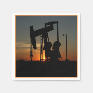 Oil Pump Jack At Sunset Party Napkins Paper Napkins