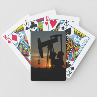 Oil Pump Jack At Sunset Playing Cards