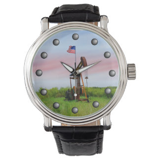 Oil Pump With American Flag Watch