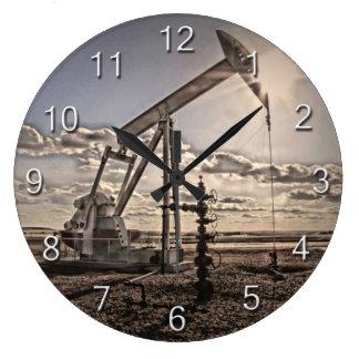 Oil Pumping Unit Blue Sky Clouds Large Clock