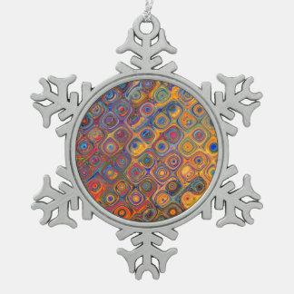 Oil Rainbow Snowflake Pewter Christmas Ornament