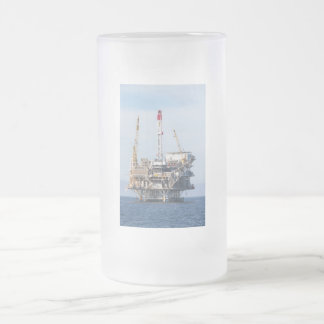 Oil Rig Frosted Glass Beer Mug