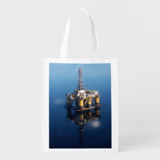 Oil Rig Platform Off Scotland Reflection Photo Reusable Grocery Bag