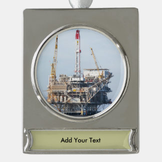 Oil Rig Silver Plated Banner Ornament