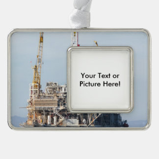 Oil Rig Silver Plated Framed Ornament