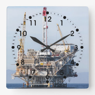 Oil Rig Square Wall Clock