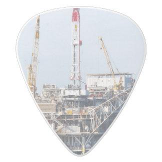 Oil Rig White Delrin Guitar Pick